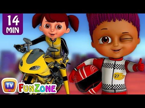 Learn Colours & Shapes in Bike Race & Surprise Eggs Bikes Toys - ChuChu TV Funzone 3D Motorsports