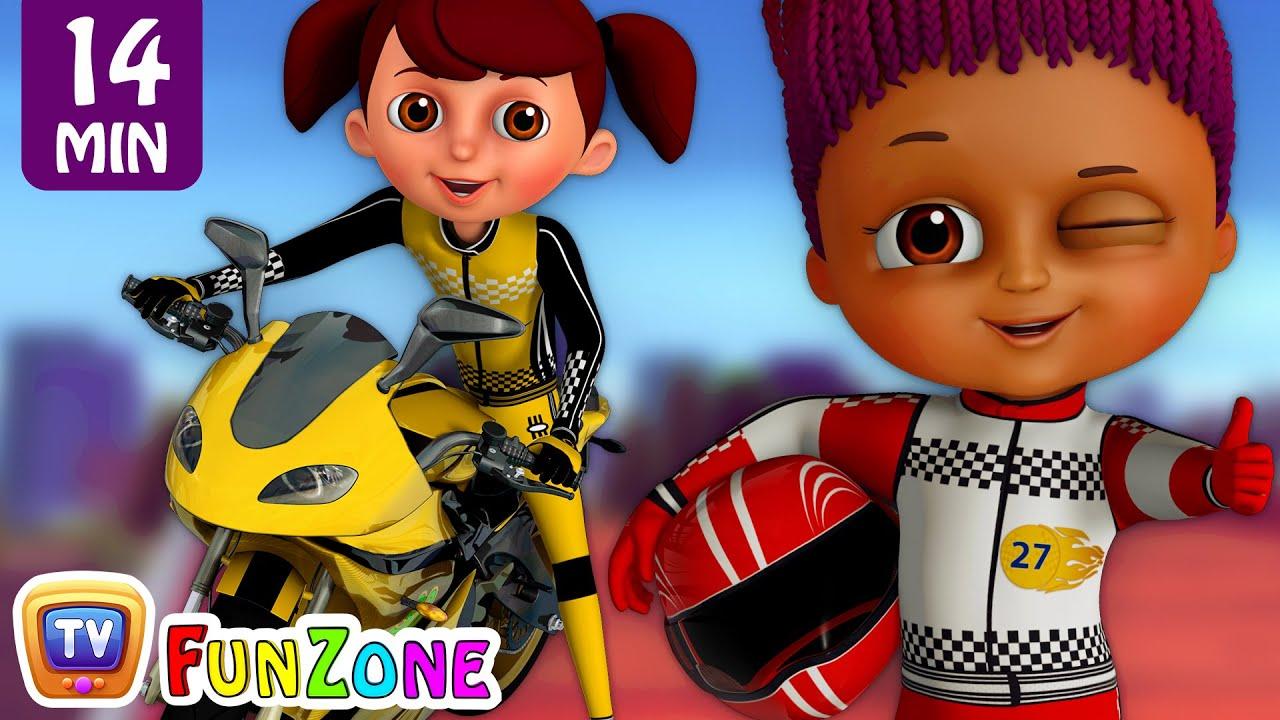 Learn Colours & Shapes in Bike Race & Surprise Eggs Bikes Toys - ChuChu TV Funzone 3D Motors