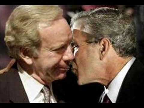 Joe Lieberman Lies About Bush Kiss