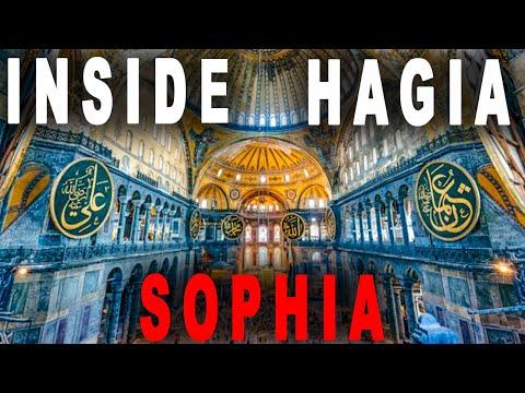 Inside Hagia Sophia Grand Mosque, Istanbul Turkey