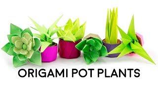 Mini Origami Pot Plant / Succulent Tutorial - Cute DIY - Paper Kawaii