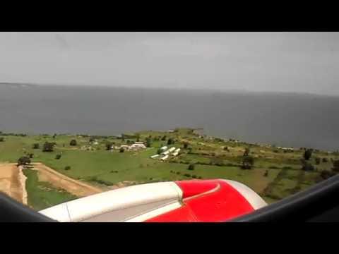 Kenya Airways E-190 take off from Entebbe International Airport, Uganda