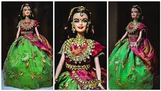 Traditional south indain Barbie #halfsareebarbie #KundanJewellerymaking #barbiedolldecoration