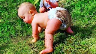 Смешные младенцы, впервые ползающие странно - Смешные детские видео
