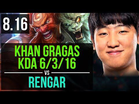 KZ Khan - GRAGAS vs RENGAR (TOP) ~ KDA 6/3/16 ~ Korea Challenger ~ Patch 8.16
