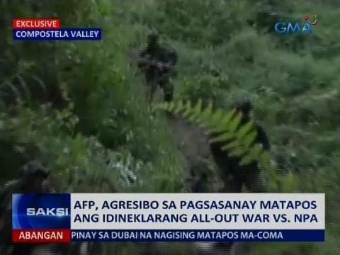 Saksi: AFP, agresibo sa pagsasanay matapos ang idineklarang all-out war vs. NPA