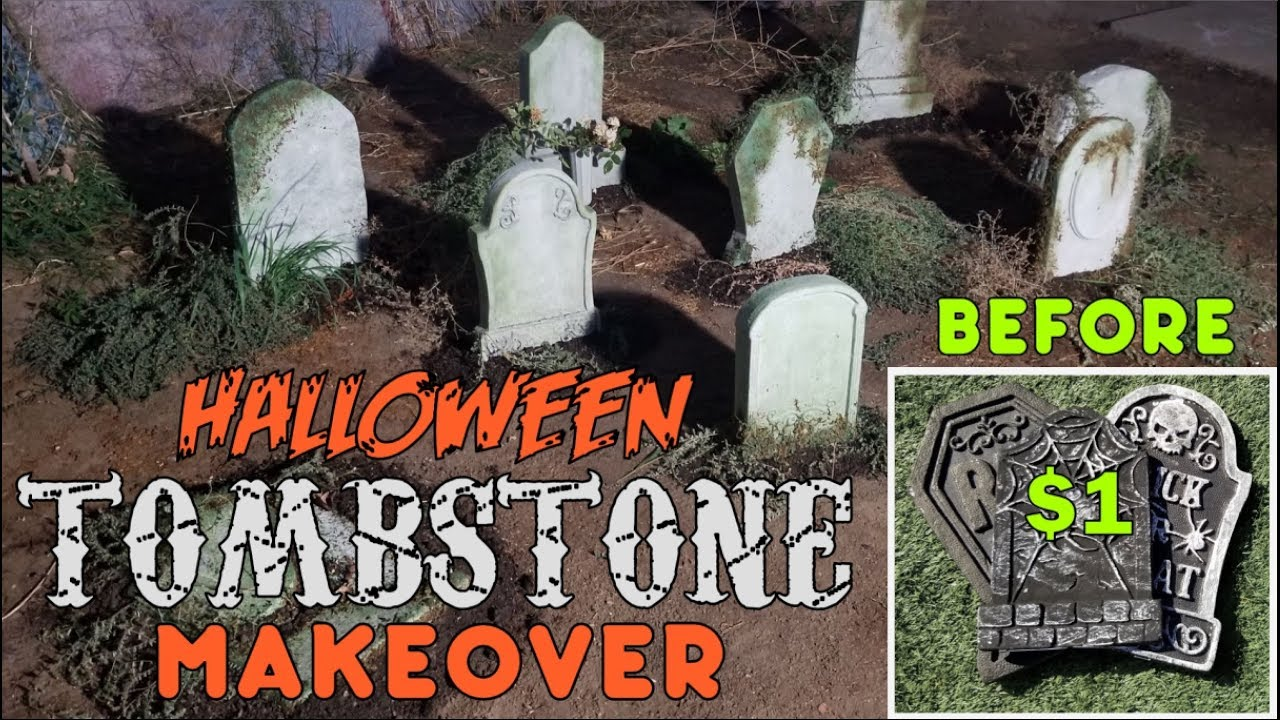 Halloween Foam Tombstone Makeover Halloween Decoration Ideas Make Dollar Store Tombstones Better