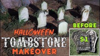 Halloween Foam Tombstone Makeover | Halloween Decoration Ideas | Make Dollar Store Tombstones Better