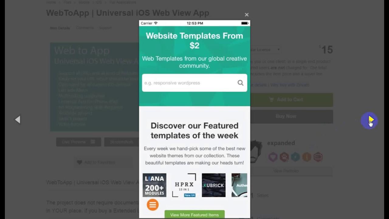 WebToApp Universal iOS Web View App - YouTube