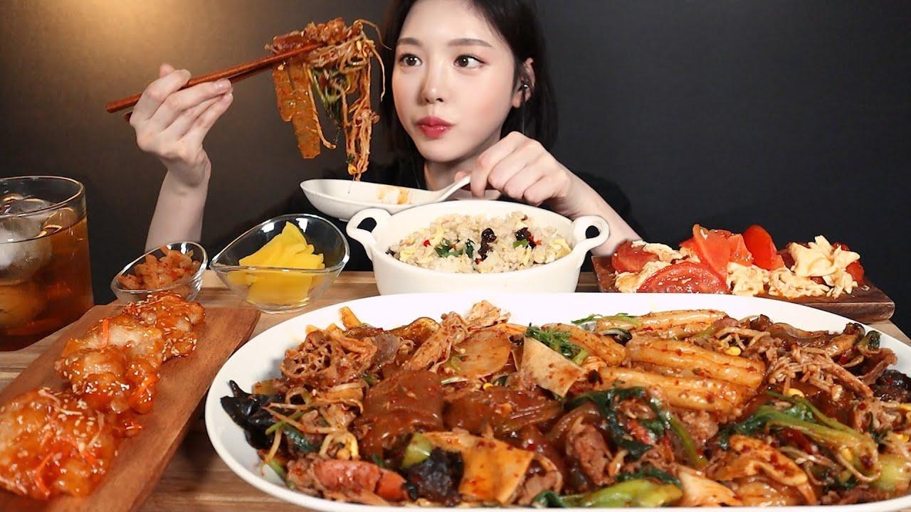 SUB)매콤알싸한 마라샹궈 먹방🔥 식감대장 파티 ! 꿔바로우 달걀볶음밥까지 리얼사운드 Maraxiangguo Guobaorou  mukbang ASMR