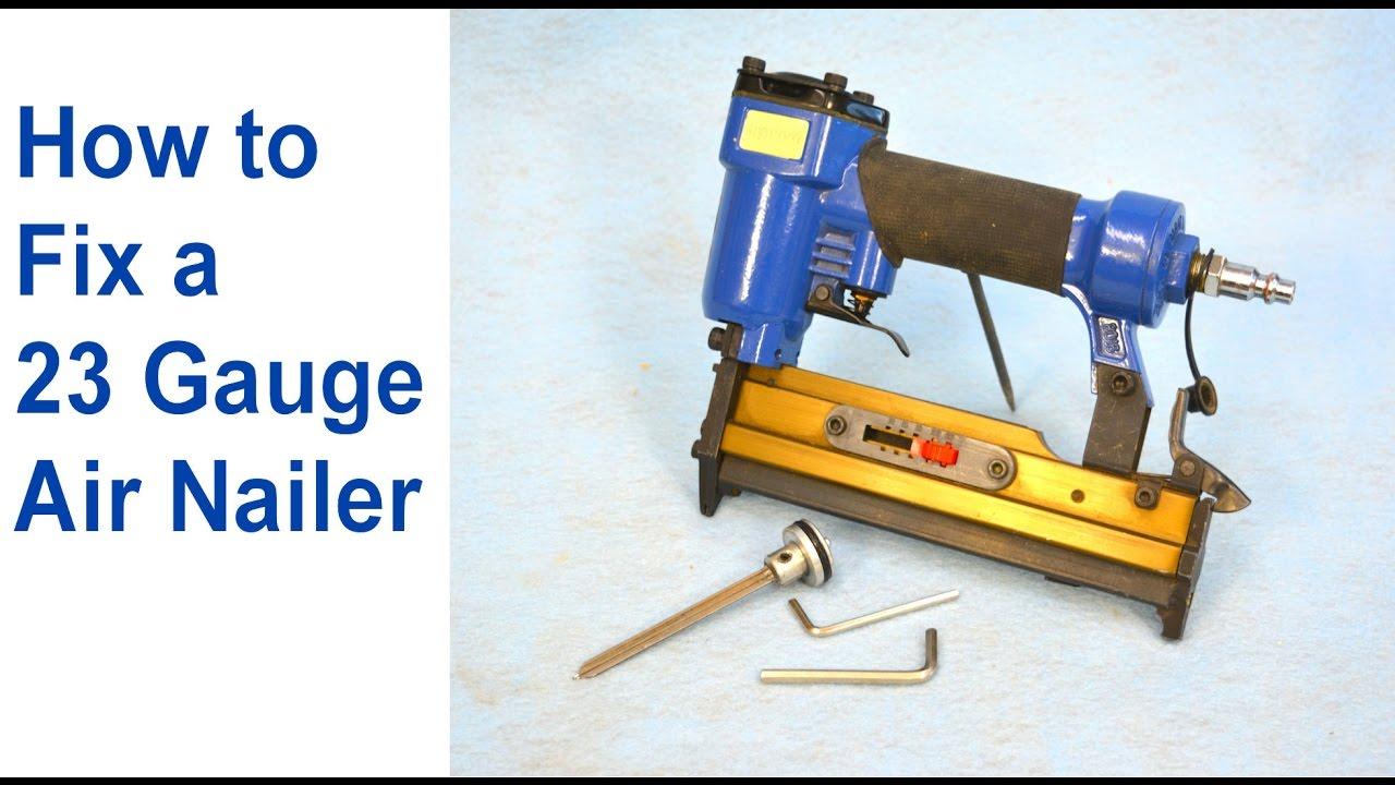 how to fix an air nailer 23 gauge pinner pneumatic nailer repair youtube