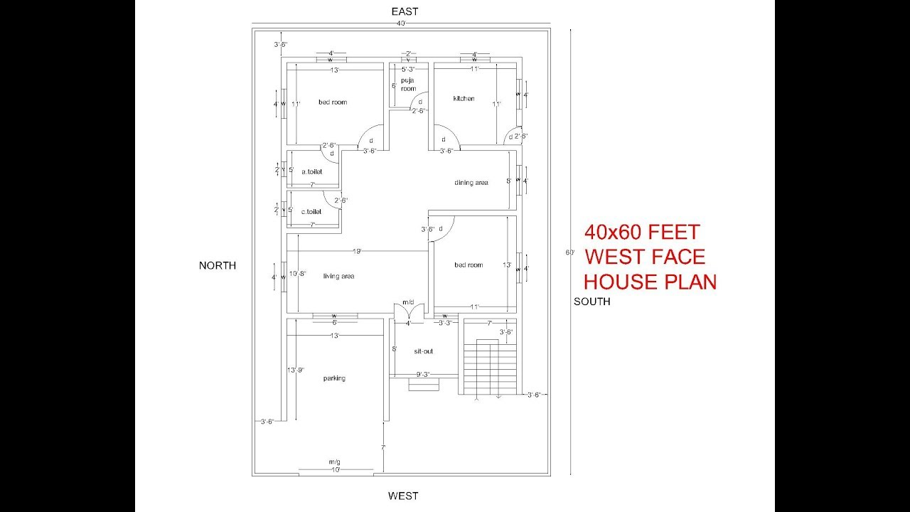 40x60 Feet West Facing House Plan 2bhk West Face House Plan With Puja Room And Parking