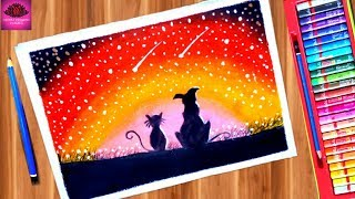 Pets moonlight dreams scenery drawing with oil pastel easy step by step
