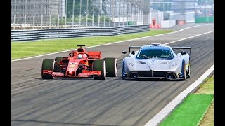 Ferrari F1 2018 vs Pagani Zonda R  --Monza