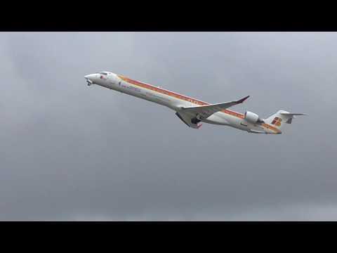 Iberia Air Nostrum EC-LPN Canadair Regional Jet take off at Madrid Barajas MAD