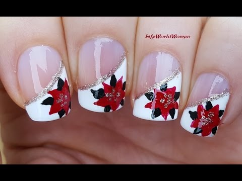 CHRISTMAS SIDE FRENCH MANICURE With POINSETTIA Nail Art ...