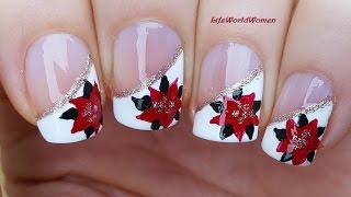 Gambar cover CHRISTMAS SIDE FRENCH MANICURE With POINSETTIA Nail Art Design