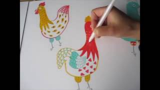 Year of the Rooster: How to Draw Colorful Roosters with Yuko Miki