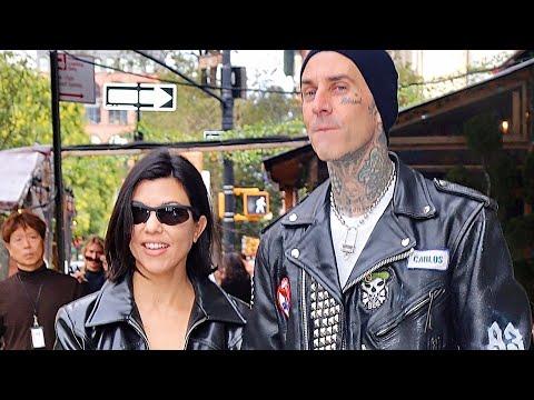 Kourtney Kardashian and Travis Barker Get Mobbed by Fans While Walking Around New York - Gossip Bae
