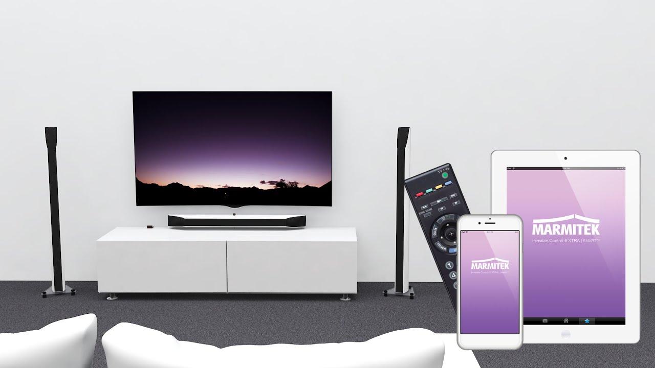 Hidden Tv Meubel.Control Av Equipment In A Closed Tv Cabinet With Smartphone