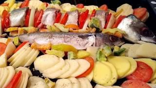 Скумбрия рецепты, Скумбрия в духовке с овощами. Вкуснее не найдете! попробуйте