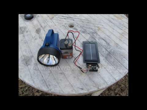 Solar Charging A 6 Volt Flashlight Battery Youtube