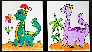 Dạy vẽ Khủng long dễ thương ♥ How To Draw A Cute Dinosaur ♥