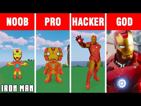 Minecraft NOOB vs PRO vs HACKER vs GOD: IRON MAN 4 BUILD CHALLENGE in Minecraft / Funny Animation