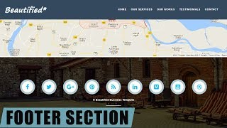#19 Footer section for website in Html5 and css 3 - very easy tutorial