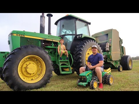 Real tractors on the farm baling hay | Hudson fixing broken tractor | Tractors for kids