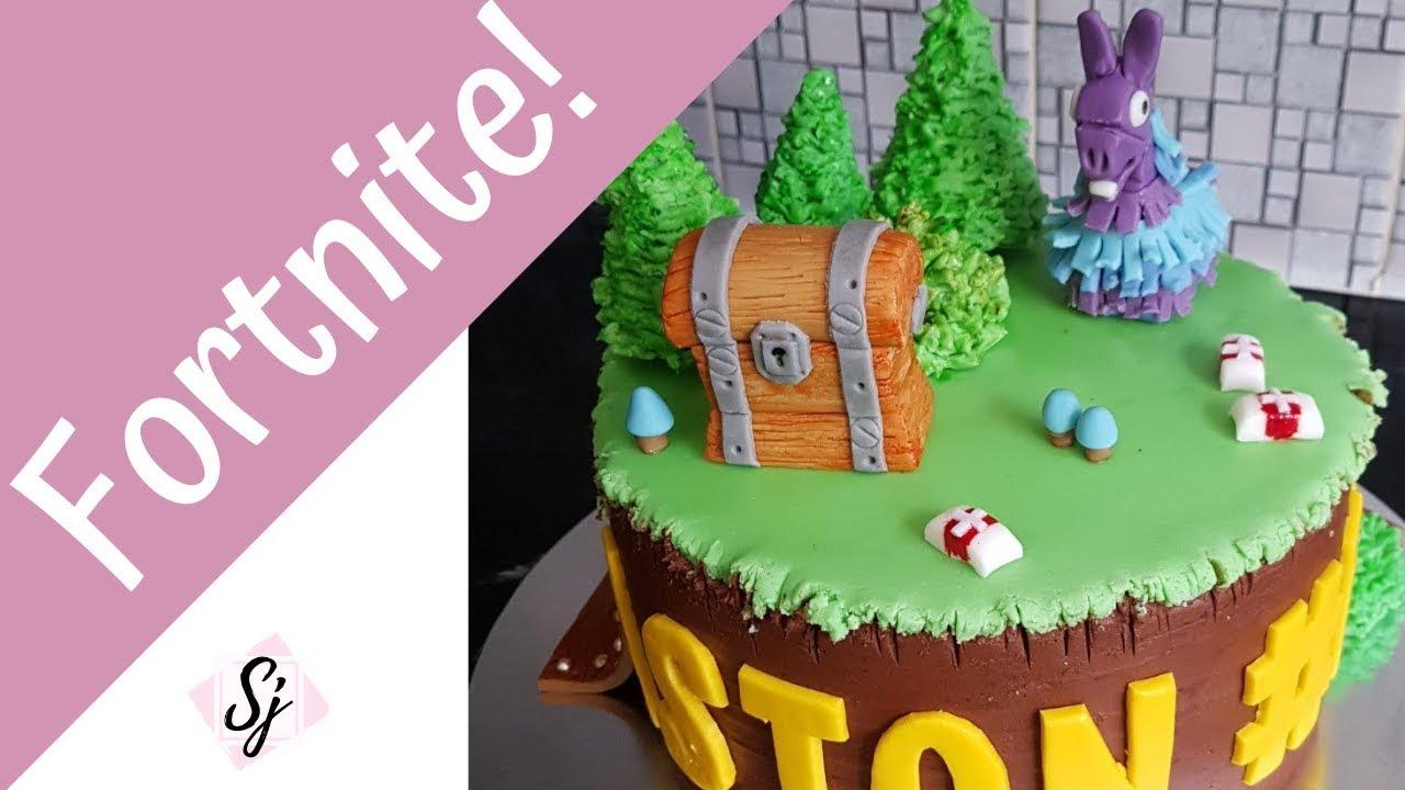 Fortnite Cake Tutorial Including Fondant Llama Chest Youtube
