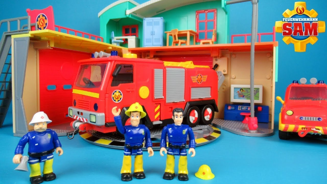 Brandweerman Sam Garage : Fireman sam fire station by simba and jupiter deluxe toys