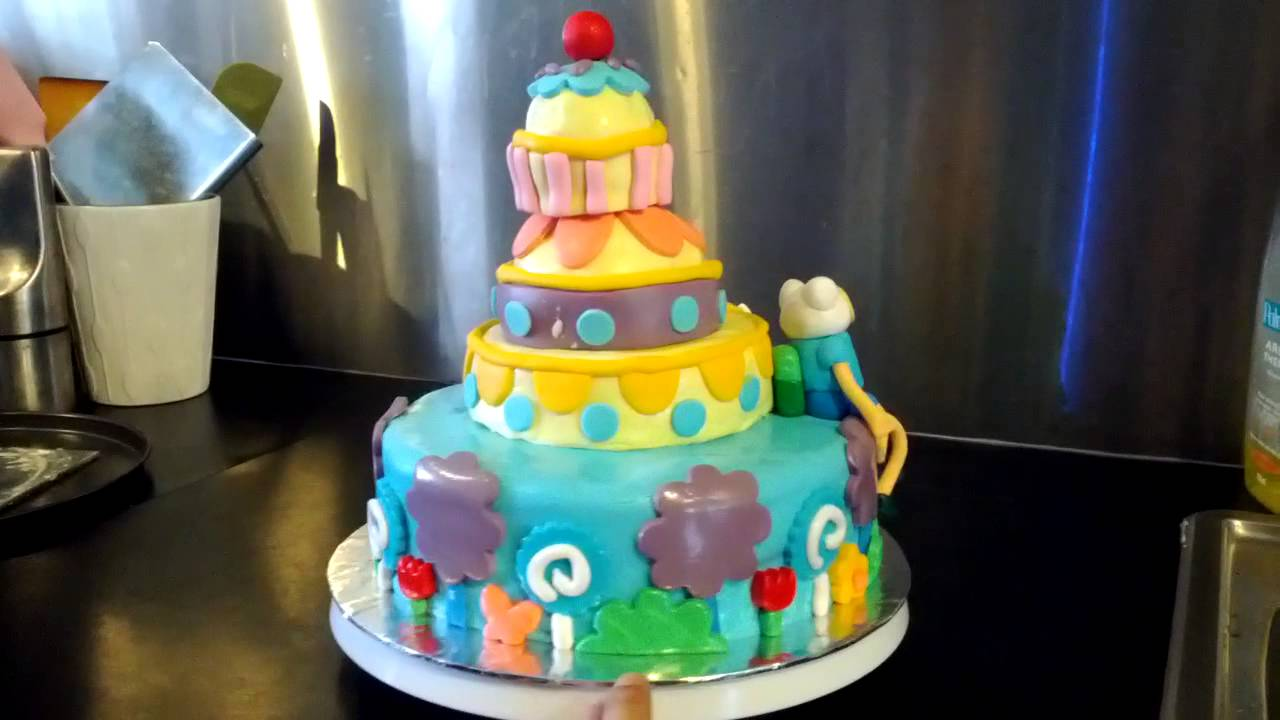 Finns One Year Old Adventure Time Birthday Cake Youtube