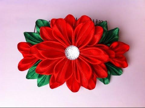 Украшение на гребень Канзаши / Красные Цветы / Гребень на Новый Год