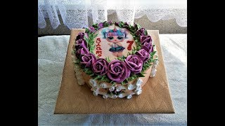 торт для девочки с сахарной картинкой