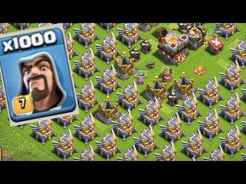 Clash Of Clans- 1000 Max Level Wizard vs Max Level Eagle Artiller