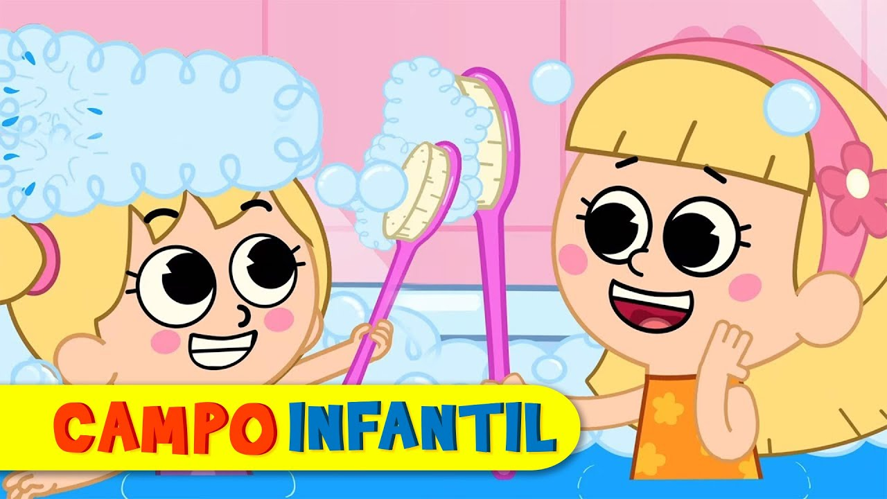La hora del baño con Elly y Eva - Canciones infantiles animadas | Campo Infantil