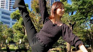 頭上に高く足を上げたまま動かない人【柴垣未羽 Shibagaki Miu】She doesn't move with her leg raised for one minute!