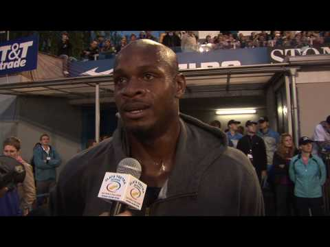 Asafa Powell - flash interview, 100 m