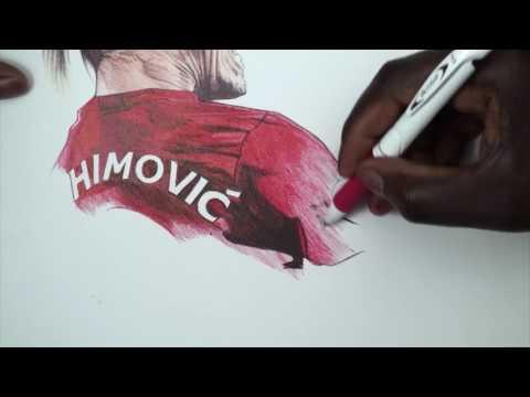 Zlatan Ibrahimovic Pen Drawing   Manchester United   DeMoose Art