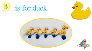 How to make Quilling paper Duck Shape - D is for... Duck