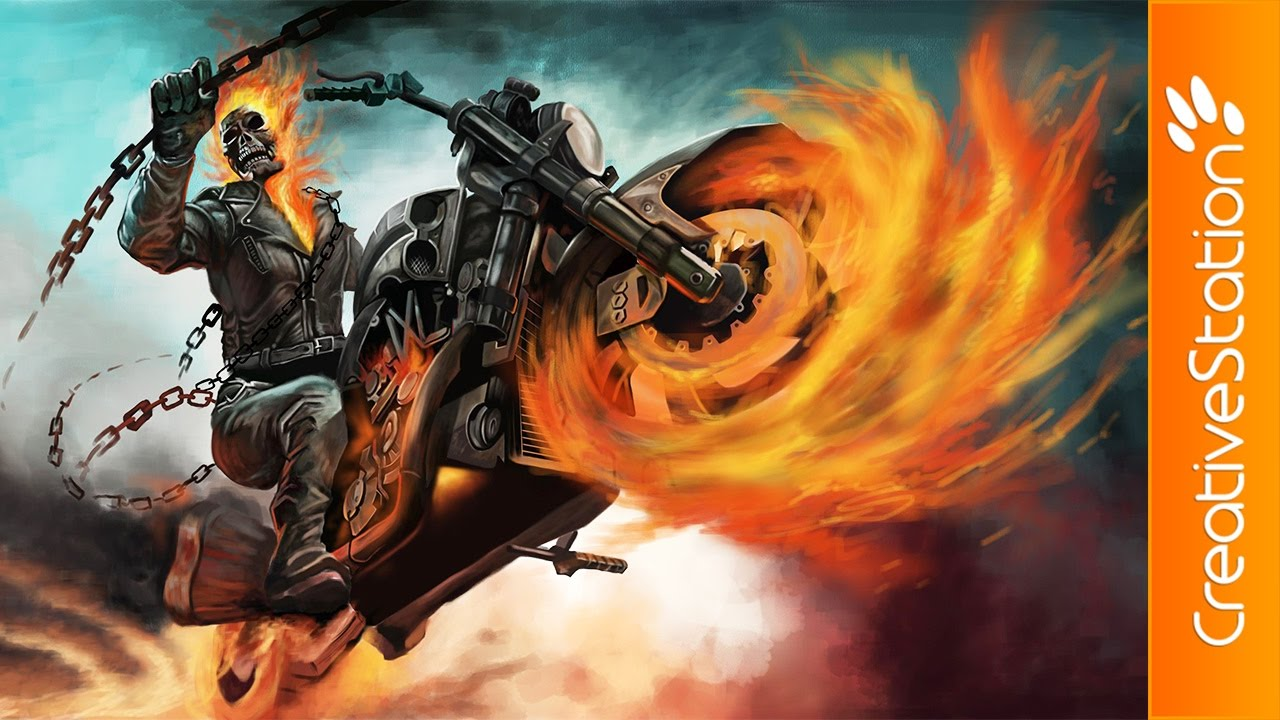 Ghost Rider - Speed Painting (#Photoshop ...  |Ghost Rider Digital Painting Photoshop