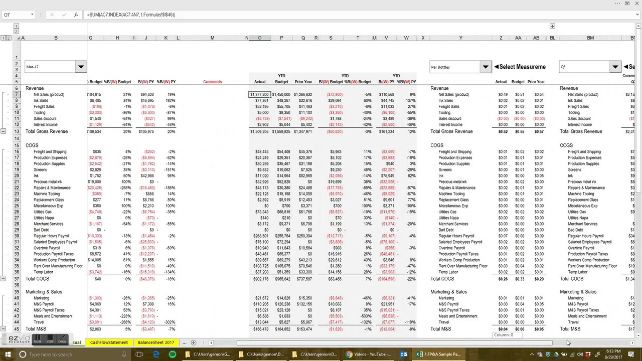 FP&A/Budget Versus Actual Reporting with Dashboards and Graphs