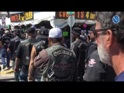 Police keep an eye on members of the Outlaw Motorcycle Club on Main Street