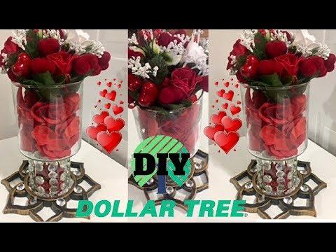 DOLLAR TREE DIY VALENTINES DAY CENTERPIECE, DIY EASY ROSE BOUQUET,  DIY CENTREPIECE 2018