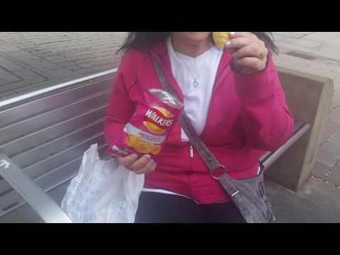 Walkers crisps/chips. Kim discovering English crisps.... Yum