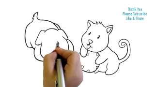 How to Draw two baby puppies drawing easy drawing