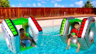 Alex and Eric Pretend Play with Spaceship Float Swimming Pool Toys for Kids