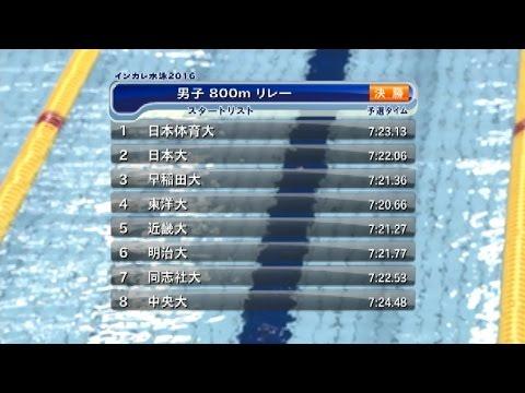 インカレ水泳2016 男子800mリレー
