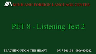 Pet Preliminary English Test 8 Listening Test 2 Full Test Youtube